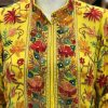 Yellow Flared Style Dress with Rich Highlighted Embroidery close up