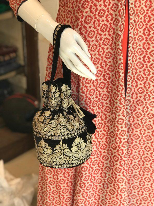 Velvet Embroidered Potli Bag Angad Creations