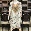 Printed Dots Georgette Kaftan with Kashmiri Aari Embroidery
