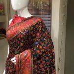 Black Modal Silk Floral Jaal Kani Weave Saree