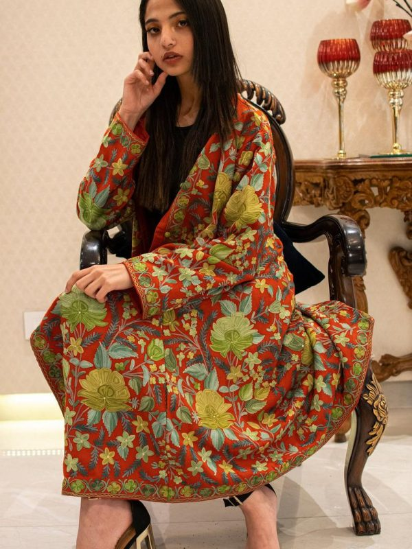 Red Kashmiri Long Coat with Floral Jaal Embroidery, Kashmiri Coats & Jackets