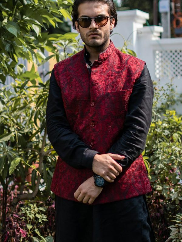 Black Mens Nehru Jacket with Red Jama Paisley Embroidery Work close up