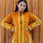 Orange and Yellow Paisley Jamawar Embroidered Women Coat