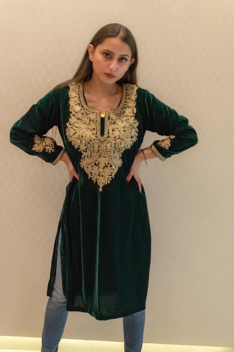 Kashmiri Green Velvet Tunic with Gold Tilla Chinar Embroidery image 2