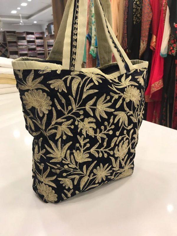 Black Velvet Zari Embroidered Tote Bag