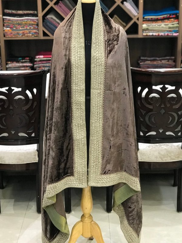 Brown Silk Velvet Shawl with 4 Side Tilla Chaputri Border