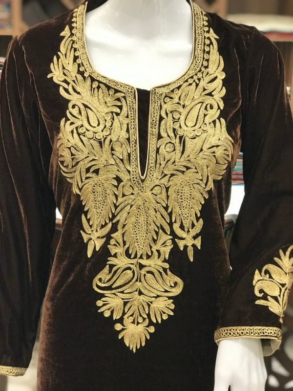 Kashmiri Brown Velvet Kurta with Tilla Embroidery 2