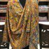 Mustard Fine Wool Outlined Kalamkari Stole Wrap