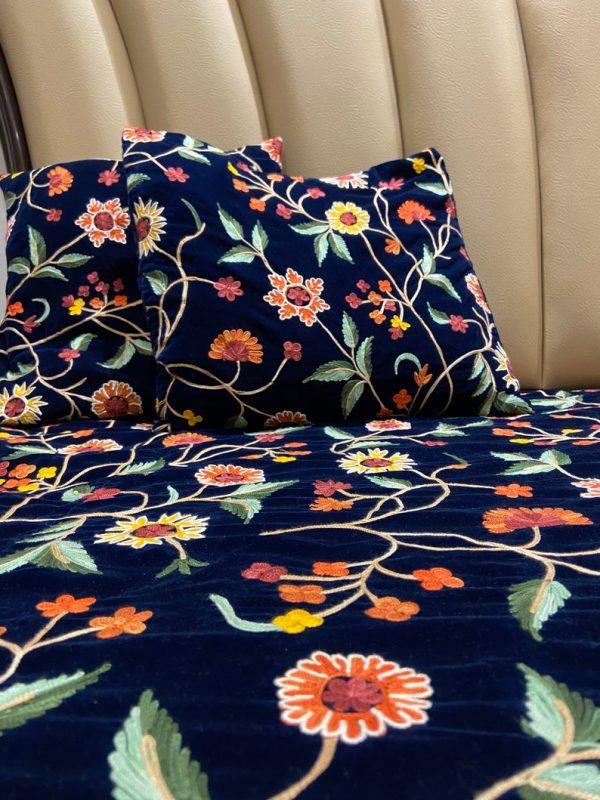 Floral Kashmiri Aari Embroidered Velvet Bed Cover