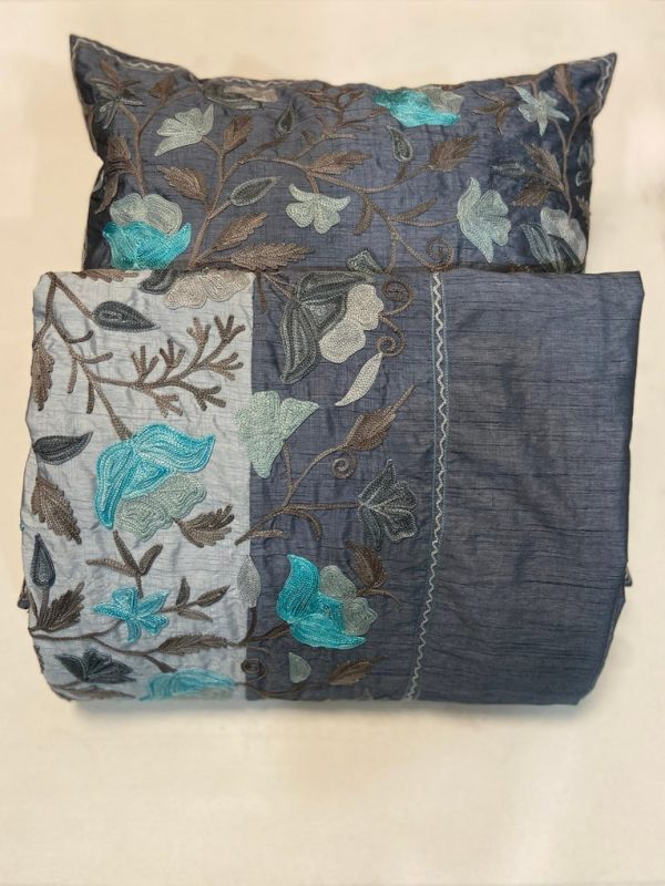 Dual Grey Tone Raw Silk Bed Cover with Floral Aari Embroidery