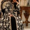Black Jacket Style Flared Dress with Fusion Embroidery