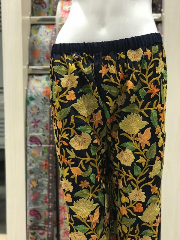 Navy Blue Women Trouser with All Over Floral Embroidery close up