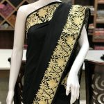 Pure Crepe Saree with Golden Zari Embroidery
