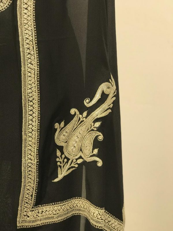Tilla Chuptri Embroidered Salwar Suit: Black close up