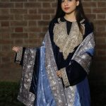 Flowy Navy Blue Velvet Phiran with Tilla Embroidery