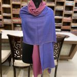 Solid Plain Pure Pashmina Reversible Shawl: Move and Blue