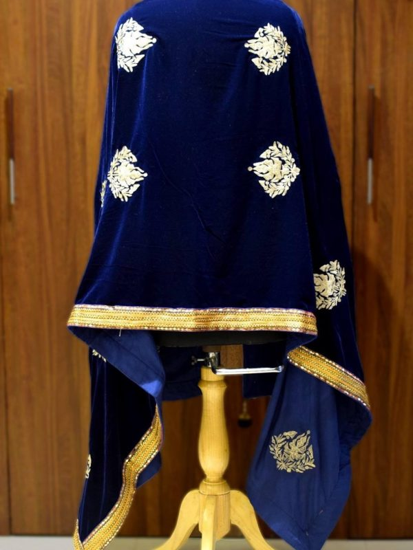 Navy Blue Velvet Shawl with Chinar Boteh Work back view