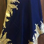 Navy Blue Pure Wool Shawl with Gold Tilla Hand Embroidery