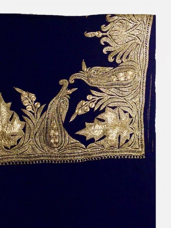 Navy Blue Pure Wool Shawl with Gold Tilla Hand Embroidery close up