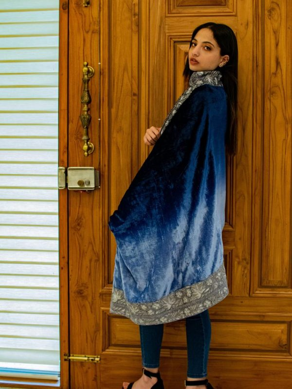 Ombre Blue Silk Velvet Orni with Puff Tilla Work flat view side view