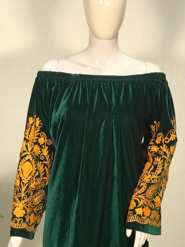 Bottle Green Off Shoulder Blouse with Orange Embroidered Sleeves close up