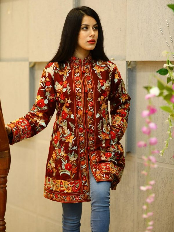 Maroon Floral Embroidered Jacket with Hand Cut Daana Highlighting stylish
