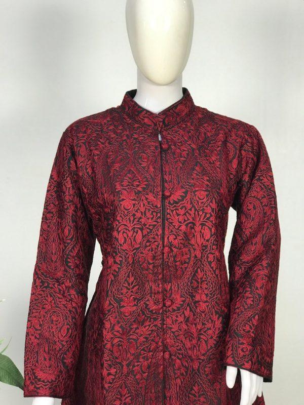 Black Kashmiri Jamawar Jacket with Maroon Embroidery, Embroidered Jackets close up
