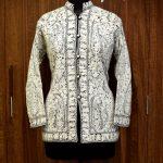 Black Kashmiri Jamawar Jacket with White Embroidery