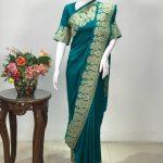 Ferozi Pure Silk Saree with Gold Tilla Embroidery
