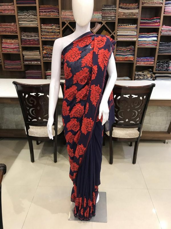 Navy Blue Saree with Boteh embroidery and Cut-Dana Hand Work