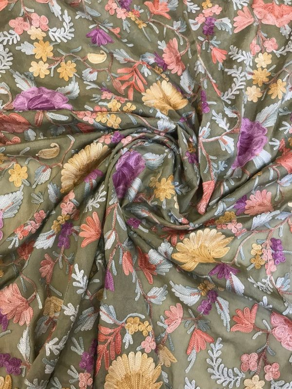Moss Green Running Fabric with Floral Aari Jaal Embroidery