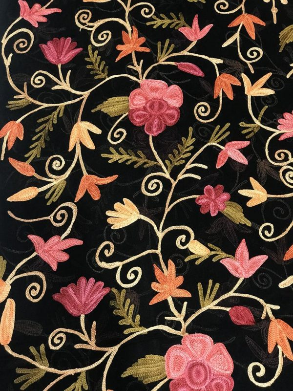 Black DIY Fabric with Floral Aari Jaal Embroidery close up