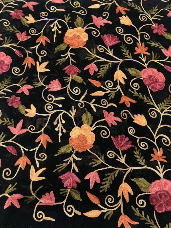 Black DIY Fabric with Floral Aari Jaal Embroidery
