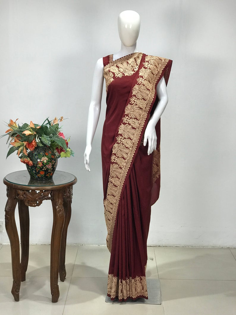 Maroon Pure Silk Saree with Gold Tilla Embroidery