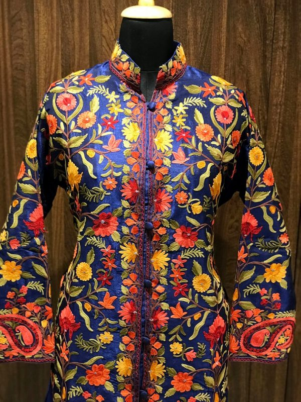 Blue Kashmiri Coat With Floral Vine Pattern Embroidery Front