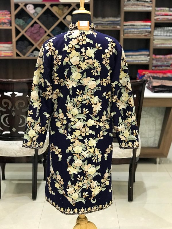 Navy Blue Kashmiri Coat With Floral Pattern Embroidery Back