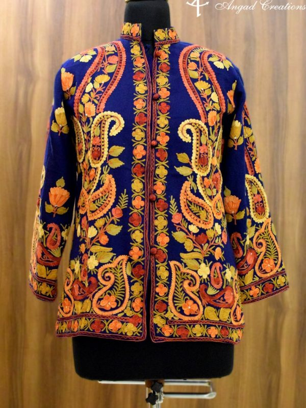 Blue Kashmiri Short Jacket With Paisley Embroidery Front
