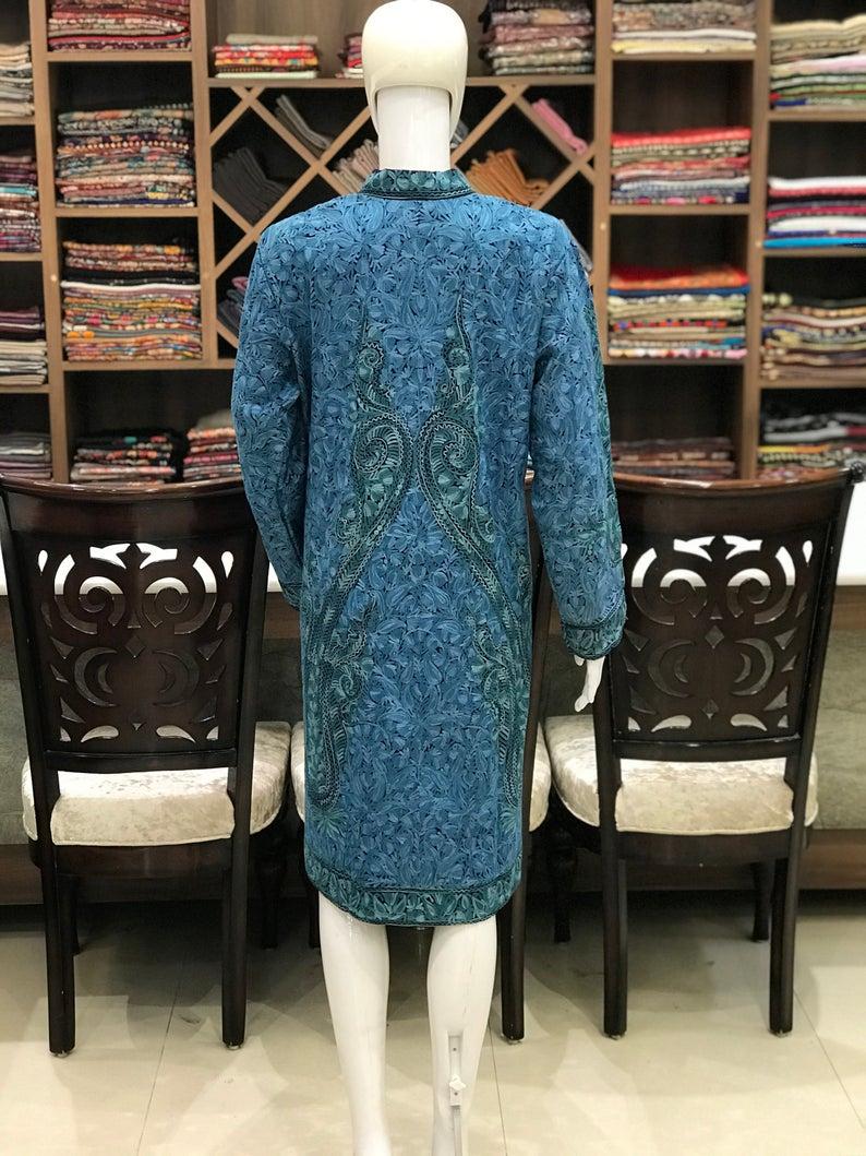 Black Paisley Jamawar Embroidered Women Coat Back