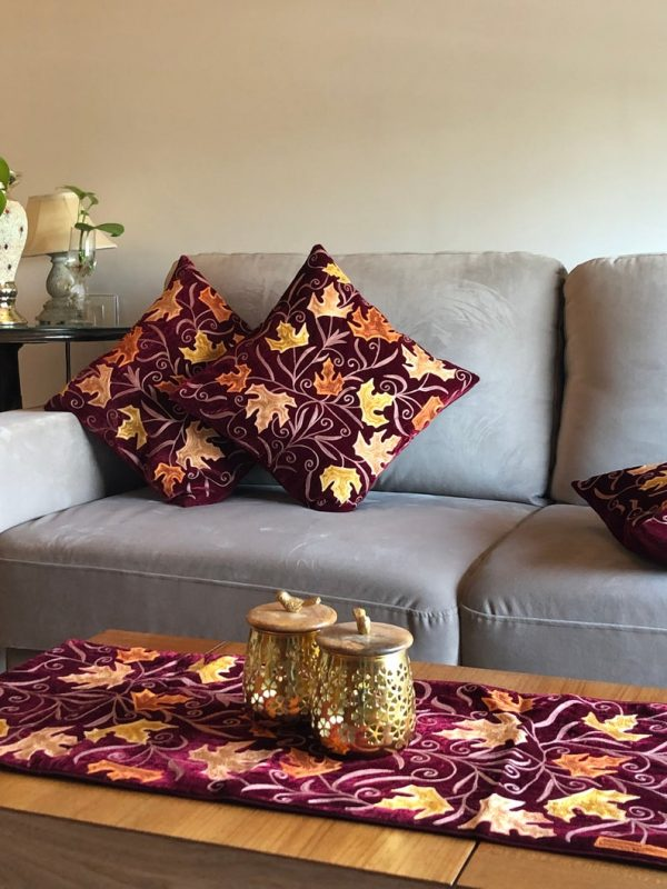 Maroon Velvet Table Runner and 4 Cushion Covers Set with Maple Leaf Embroidery